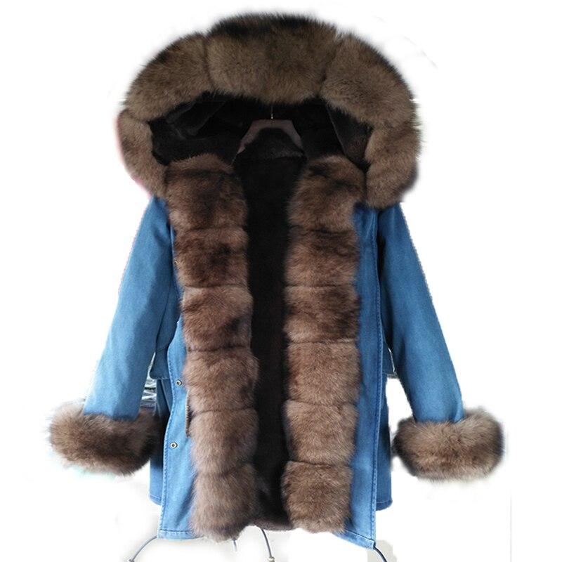 Nuovo lungo denim giacca invernale parka di spessore naturale reale della pelliccia di fox del cappotto del collare delle donne delle donne outwear con cappuccio pelliccia