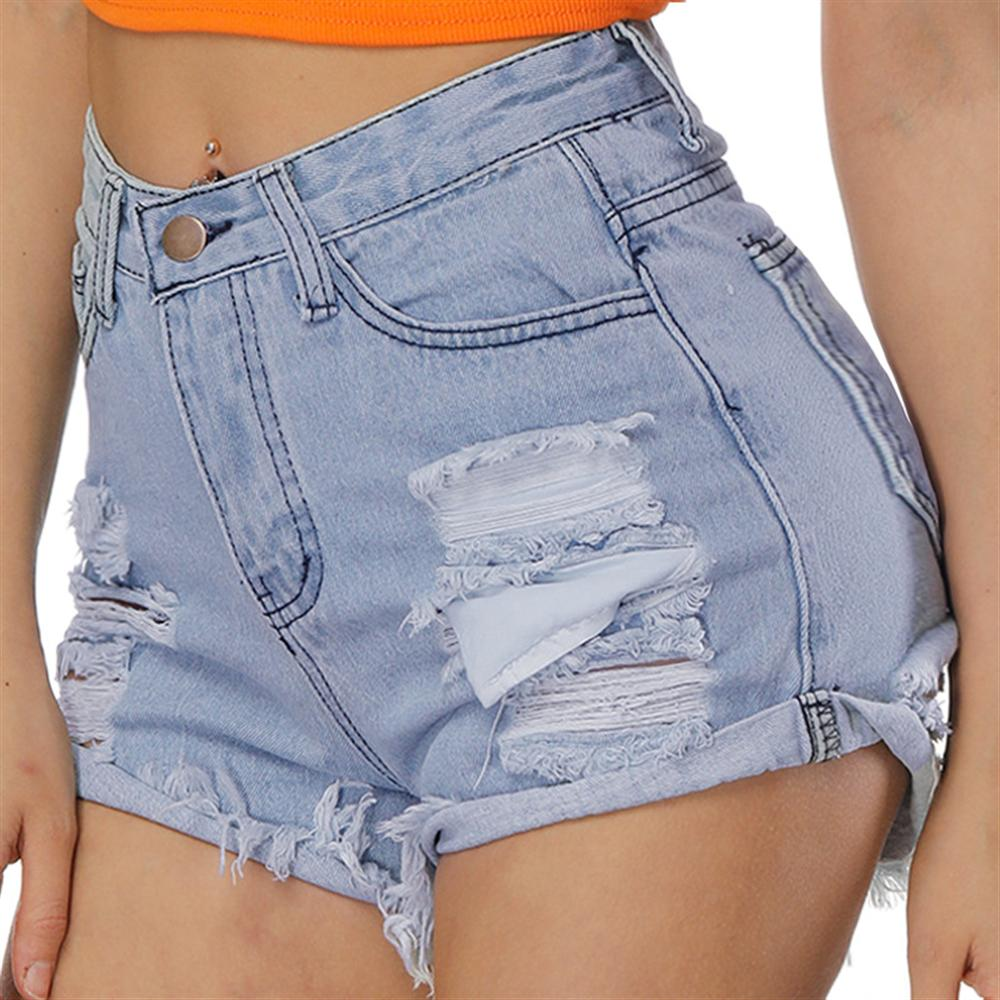 Hole washing denim shorts female Europe and the United States fashion waist loose wide leg pants Gril Hot Shorts