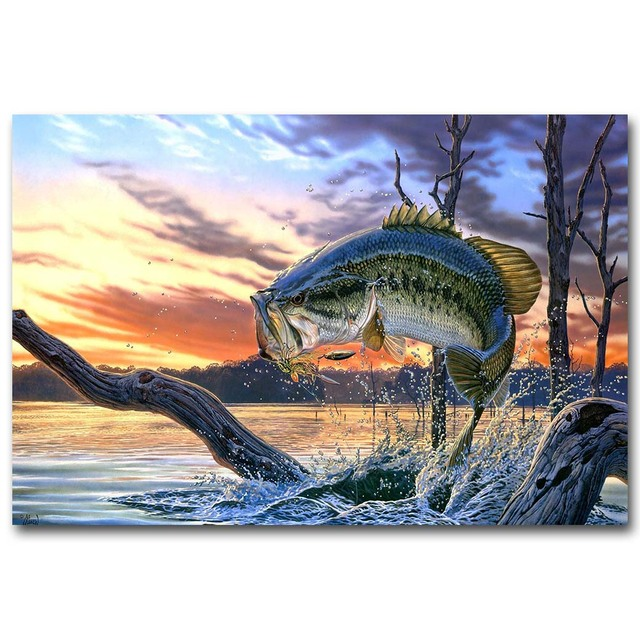 NICOLESHENTING Bass Fishing Art Silk Poster Canvas Print 13x20 24x36 Inches Sunset Lake Wall Pictures Home