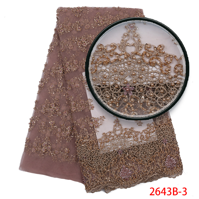 Handmade Lace Nigerian Beaded 3D Lace Fabrics African French Lace Fabric 2019 High Quality Lace Tulle For Party Dress YA2643B-3