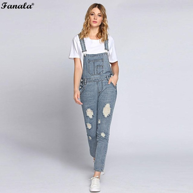 2018 Autumn Jumpsuit Women Romper Jeans Jumpsuits Ripped Bleach Wash
