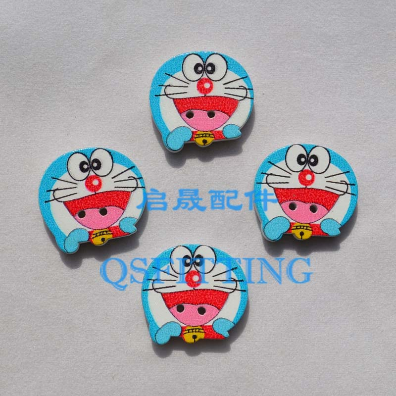 free shipping!Accessory for Childrens Clothing,Blue Color Cartoon wood Button,Cartoon Doraemon