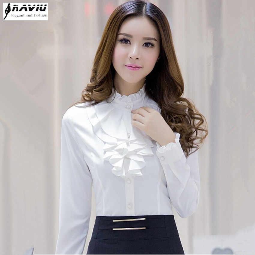 8c9c0b24ff8fdb2 Модная одежда женская рубашка с оборками с длинными рукавами элегантное, со  стоячим воротником женский блузка