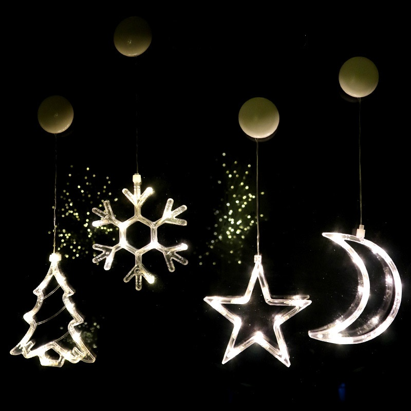 LED Christmas Lights Glass Decoration Moon Star Lamps Window Decorative Lighting Kids Night Light AAA Battery Operated Xmas Gift