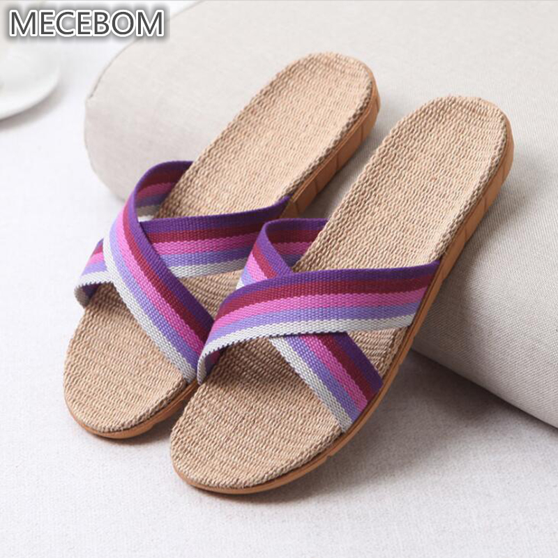 2018 Summer Flax Bathroom Home Women Flip Flop Shoes Non Slip Sandals Slipper Flat Wedge Heel Platform Shoes Chaussure Femme 25W 4