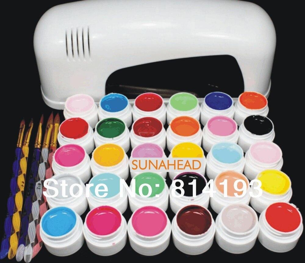 BEMLP PRO FULL 9W UV GEL White Lamp NAIL KIT 30 Color Pure UV GEL Nail Art Set