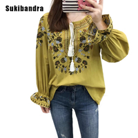 Sukibandra Embroidery Floral Shirt Vintage Long Flare Sleeve Embroidered Blouse Women Ethnic Retro Tassel Loose Top