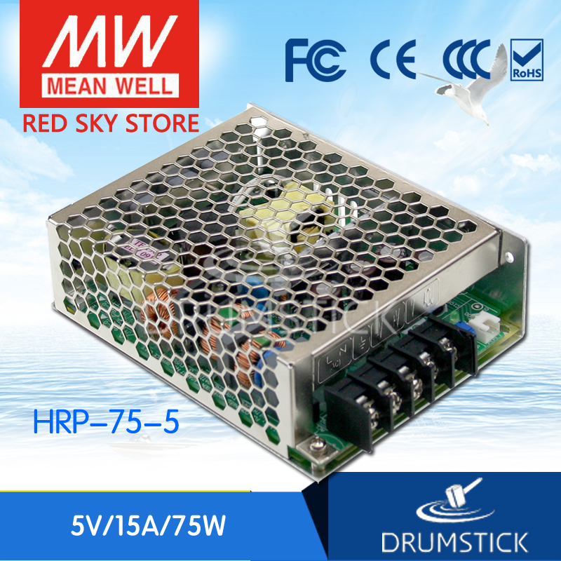 цена Selling Hot MEAN WELL HRP-75-5 5V 15A meanwell HRP-75 5V 75W Single Output with PFC Function Power Supply