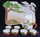 New Style Colored enamel porcelain kung fu tea set High-end gift include(1 teapot+6teacup+1tea tray) pine crane carved by hand