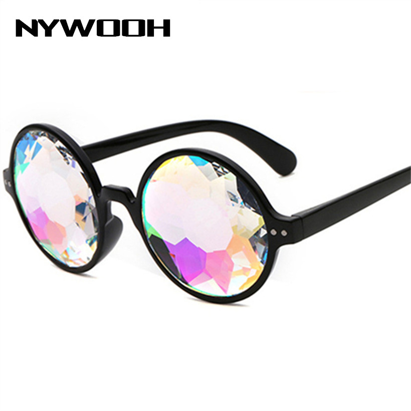 NYWOOH Kaleidoscope Glasses Women Trend Brand Designer Holographic Sun Glasses Men Rave Festival Cosplay Goggles Round Eyewea
