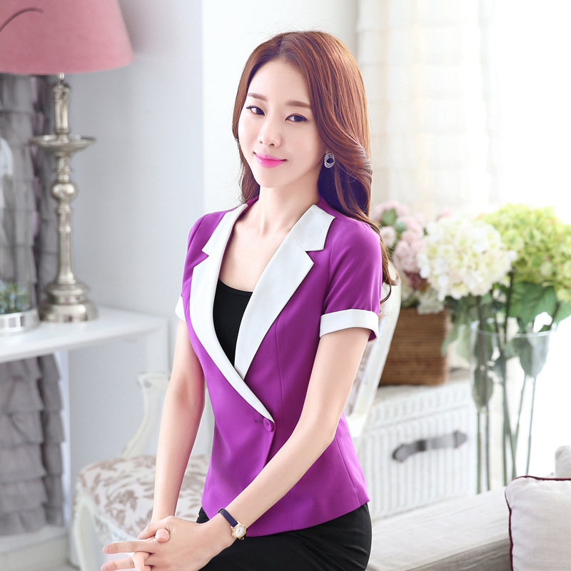 a6559d4c417b 1pcs Women Plus size jacket and blazers 2017Summer Cotton blended cross Slim  fit small Suit Jackets ladies Skinny short blazers