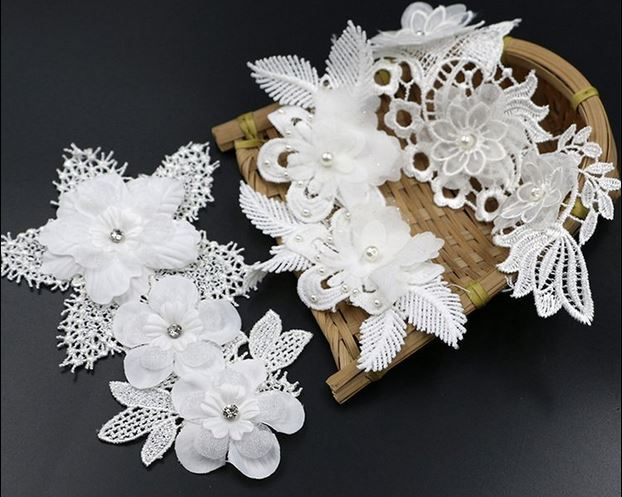 Types diy stereo organza embroidery lace patch d white flower
