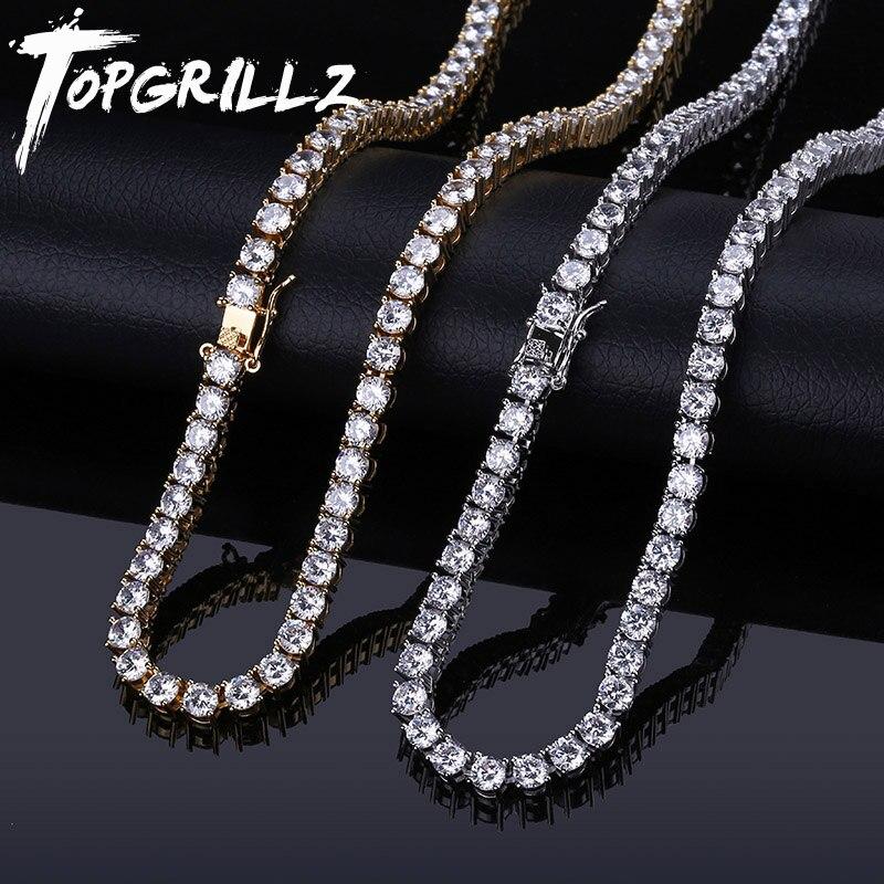 TOPGRILLZ 5MM glacé Bling AAA Zircon 1 rangée chaîne de Tennis collier hommes Hip hop bijoux livraison directe