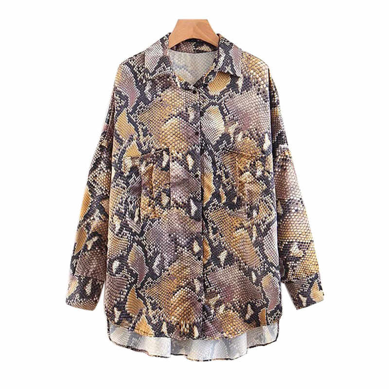 41ecb15d668ae6 2018 Stylish Snake Print Loose Blouse Oversized Long Sleeve Turn Down  Collar Shirts Female Casual Pleated