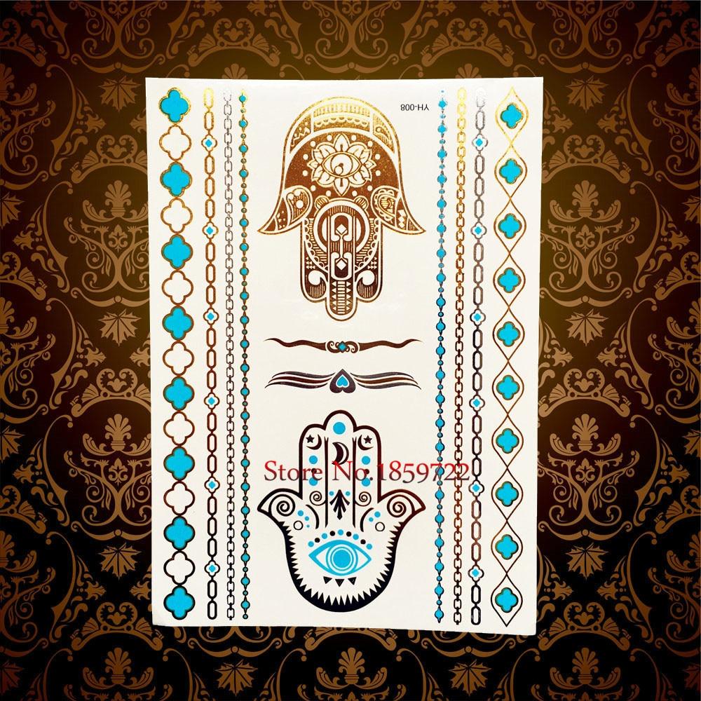 Henna Eye Tattoo: Hamsa Eye Hands Henna Gold Metallic Tattoo Body Art Flash