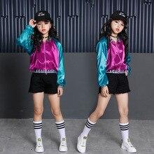 Girls Stage Dance Costumes For Kids 3pcs Teenage Hiphop Jacket Crop Shorts Sets Children Wear