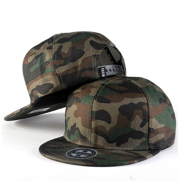 315dd2e1523 Camouflage Style Flat Brimmed Hat Embroidered Baseball Cap Fashion Bones Hip-hop  Rock Roll Heavy