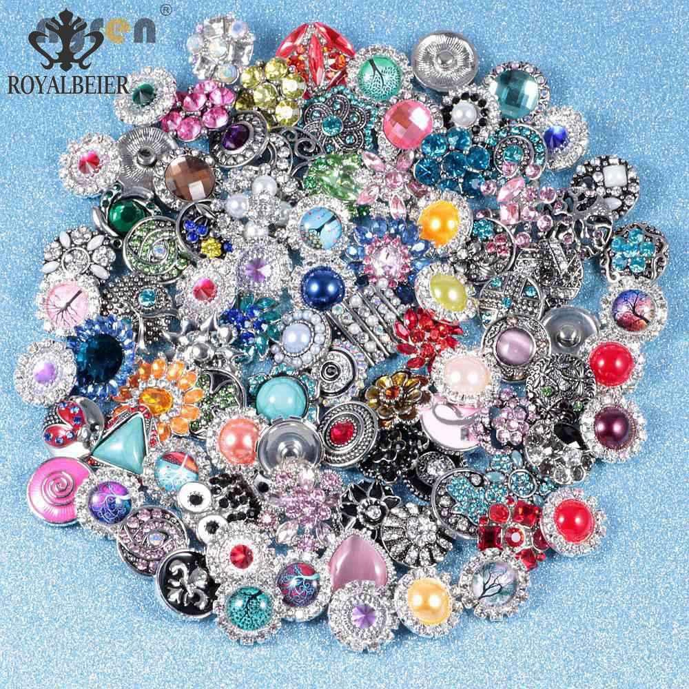 50 шт./лот, смешанный металл и стекло, 18 мм, кнопки, ювелирное изделие, сделай сам, стразы, кнопки, подвески для кнопки сделай сам, браслет, ювелирное изделие - Окраска металла: 50pcsMetal