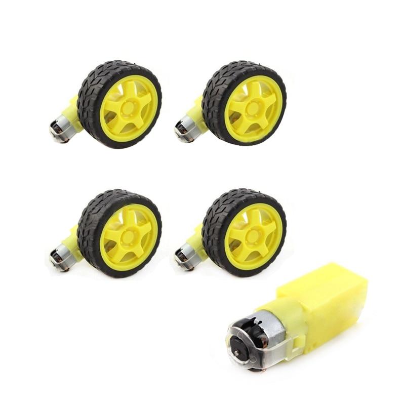 4 lotes de coche inteligente desaceleración DC Motor + ruedas de apoyo para Arduino Robot de coche inteligente de plástico de rueda de neumático DC 3 -6 V engranaje Motor