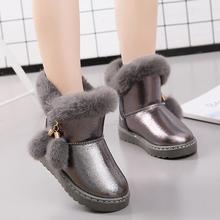 KKABBYII/детские зимние ботинки для маленьких девочек; зимние ботинки с пряжкой; детская обувь; бархатная обувь; коллекция года; обувь для мальчиков; теплая плюшевая школьная модная обувь