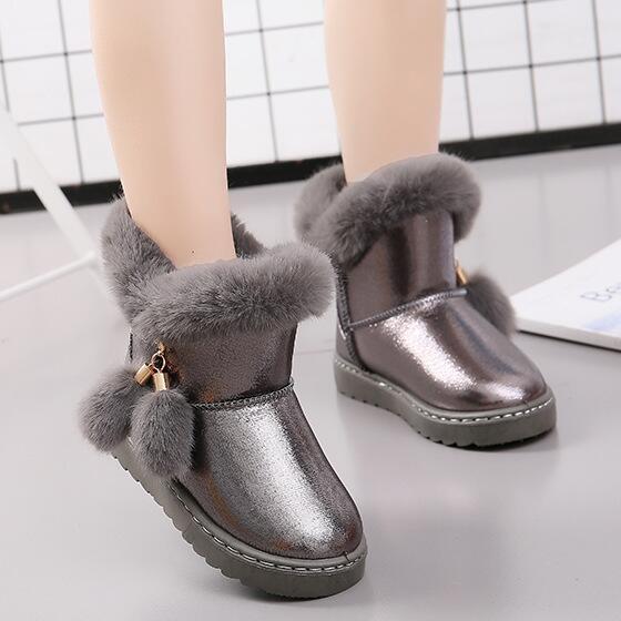 KKABBYII Children Winter Boots For Baby Girls Snow Buckle Boots Kids Shoes Velvet 2018 Boy Shoes Warm Plush School Fashion Shoe