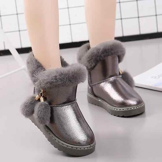 Kkabbyii/детские зимние ботинки для маленьких девочек; зимние ботинки с пряжкой; детская обувь; бархатная обувь для мальчиков; коллекция 2018 года; теплая плюшевая модная школьная обувь