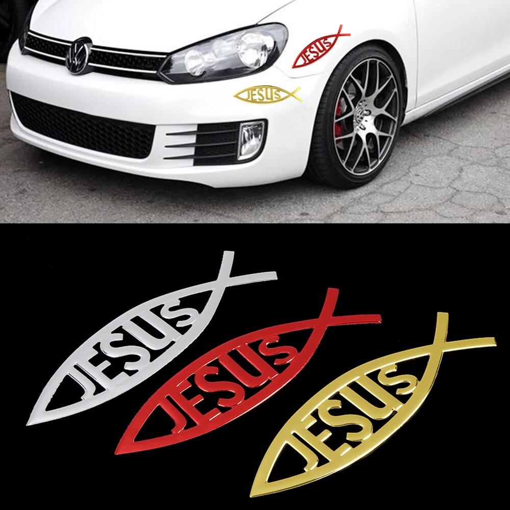 3D hıristiyan İsa balık sembolü Logo araba Sticker komik araç amblemi rozeti Sticker araba Styling çıkartması