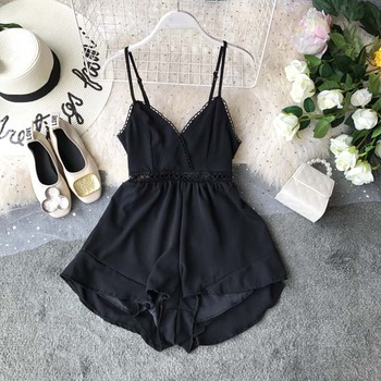 women sexy spaghetti strap sleeveless wide leg jumpsuit summer elegant solid casual rompers pockets playsuits loose overalls 2019 Summer Sexy Club Spaghetti Strap Rompers  V-Neck Sleeveless Wide Leg Playsuits High Waist Solid Color Women Rompers