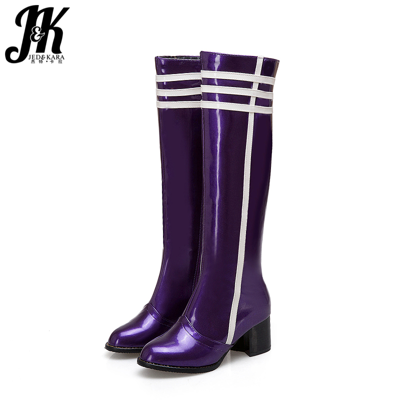 JK Plus Size 34-48 High Heels Women Knee High Boots Round Toe Pu Footwear Zip New Fashion Female Boots Shoes Women 2018 Purple memunia big size 34 43 over the knee boots for women fashion shoes woman party pu platform boots zip high heels boots female