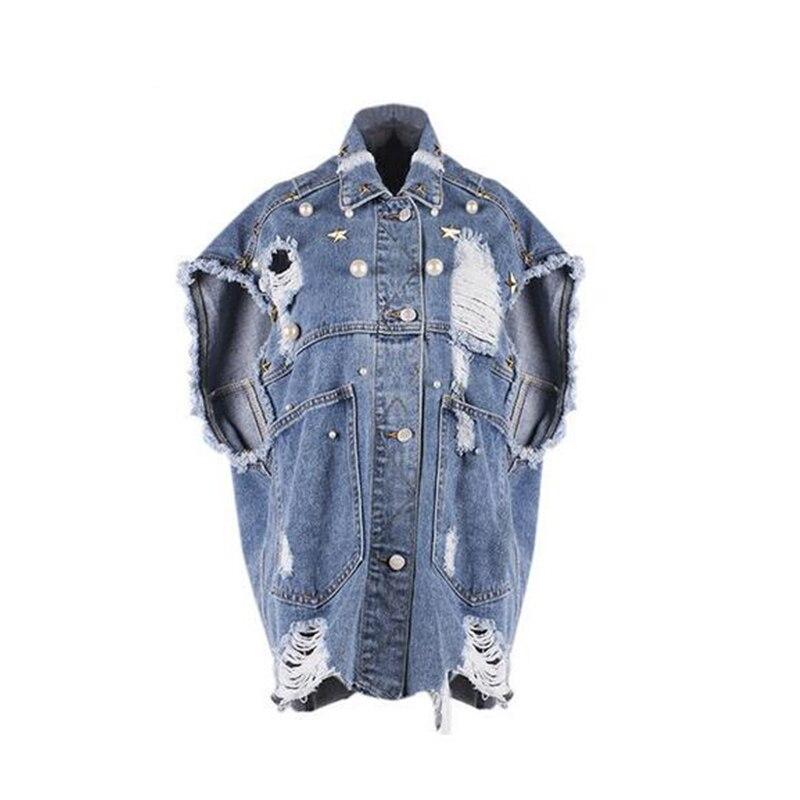 New Diamonds Paillette Denim Jacket Studded Frayed Denim Jacket Loosen Lapel Single Breasted Short Sleeve Women