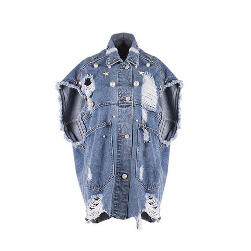 新ダイヤモンド Paillette のデニムジャケットスタッズ擦り切れデニムジャケット緩めラペルシングルブレスト半袖女性のジャケット  グループ上の レディース衣服 からの ベーシックジャケット の中 1