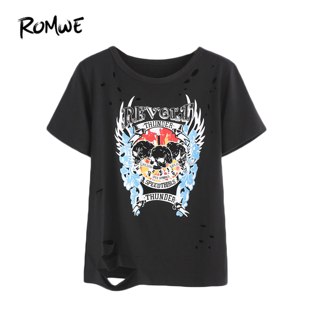 ROMWE Black Skull Pattern T shirt  2018 Summer Beach Rock Party     ROMWE Black Skull Pattern T shirt  2018 Summer Beach Rock Party Women Tops