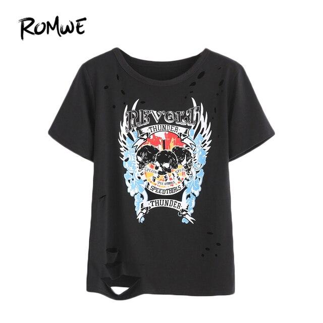 ROMWE Noir Crâne Motif T-shirt, 2017 Summer Beach Party Rock Femmes Tops,