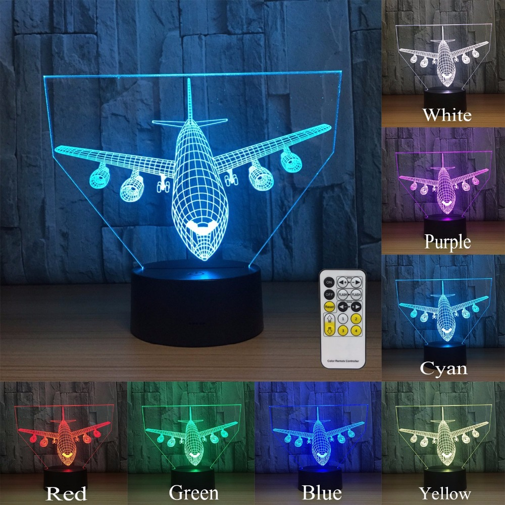 Remote Touch Jet AirPlane Warplane Fly To Earth Helicopter 3D LED Lamp 7 Color Change Bedroom Aircraft Lights World Drop Ship
