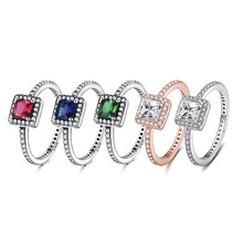 5 Color 925 Silver Charms Ring For Women Wedding Red Rose Gold Big Stone Diy Square Jewelry