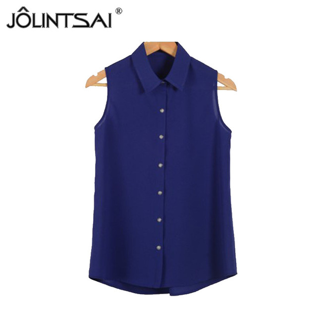 Summer 2016 Best Price women chiffon blouses Sleeveless 12 colors Office blouses shirts for women High-end Clothing Shirts L953