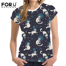 FORUDESIGNS 3D Cats T-Shirt Women T shirts Kawaii Harajuku Summer Tops & Tees Womens Short Sleeved Clothing Femmes t-shirts 2018