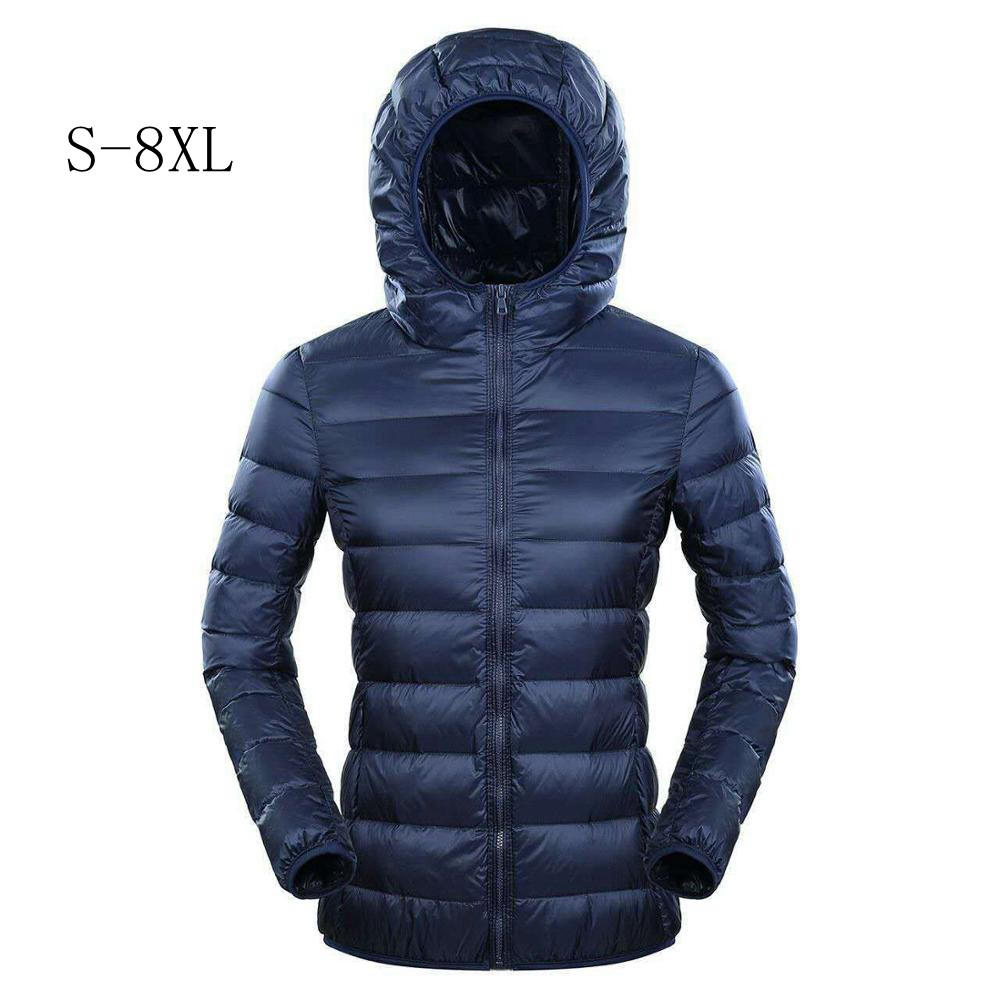 New 2019 Brand 7XL 8XL   Down   Jacket Women Hooded Ultra Light   Down   Jacket Women Plus Feather Winter Thin Warm Windbreaker   Coats