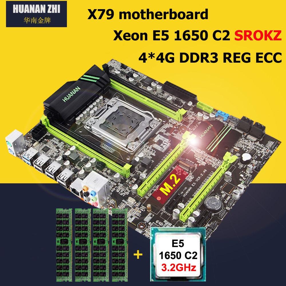 HUANAN ZHI X79 Placa base con M.2 ranura descuento placa base CPU RAM combos Intel Xeon E5 1650 de 3,2 GHz RAM 16G (4*4G) DDR3 RECC