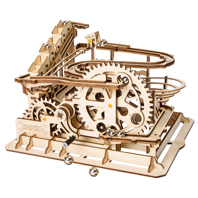 Robotime Funny Marble Run Game Diy Waterwheel Coaster Wooden Model Building Kits Assembly Toy Best Christmas