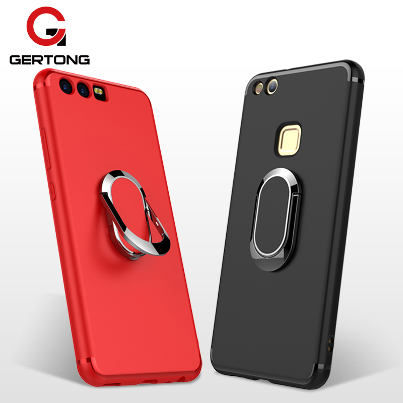 GerTong Case For Huawei P10 Lite P10 Plus Capa With Car Holder Stand Magnetic Suction Finger Ring Cover For Huawei Honor 9 Coque ...