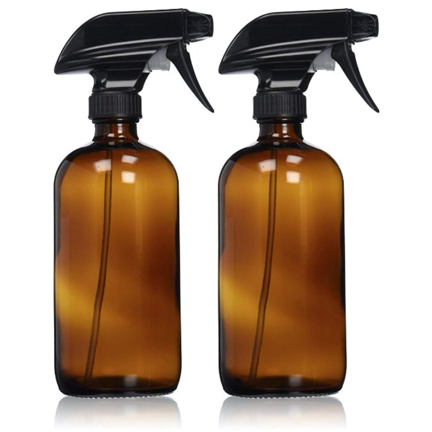 Empty Amber Glass Spray Bottles with Labels (2 Pack) - Refillable Container for Essential Oils Cleaning Products or Aromathe