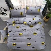 פס קריקטורה באטמן 3/מצעים קובע 4 יחידות/סט המיטה/מצעים לילדים/שמיכת שמיכת מצעים ציפית גיליון כיסוי מיטת, תאומים מלא מלכת