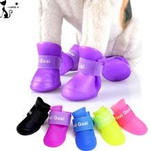 Мода водостотьким обувь для собак сплошной цвет открытый дождь для собак нет скольжения противоскольжения 4 шт./компл. размер L 5 цвета 120
