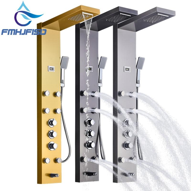Thermostatic Waterfall Shower Column Bath Shower Faucet SPA Bathroom Massage  Jets Shower Panel