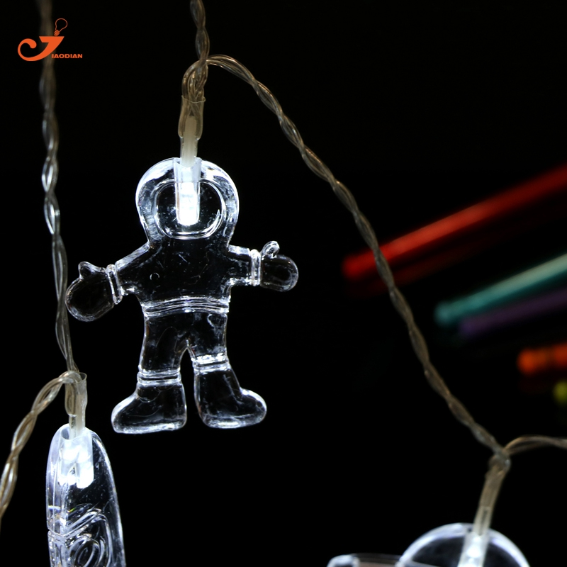 3 Set of String Lights White Sky Spaceman Rocket Universal 10LED light Star Kids Bedroom Decoration Battery lighting 4pcs/lot