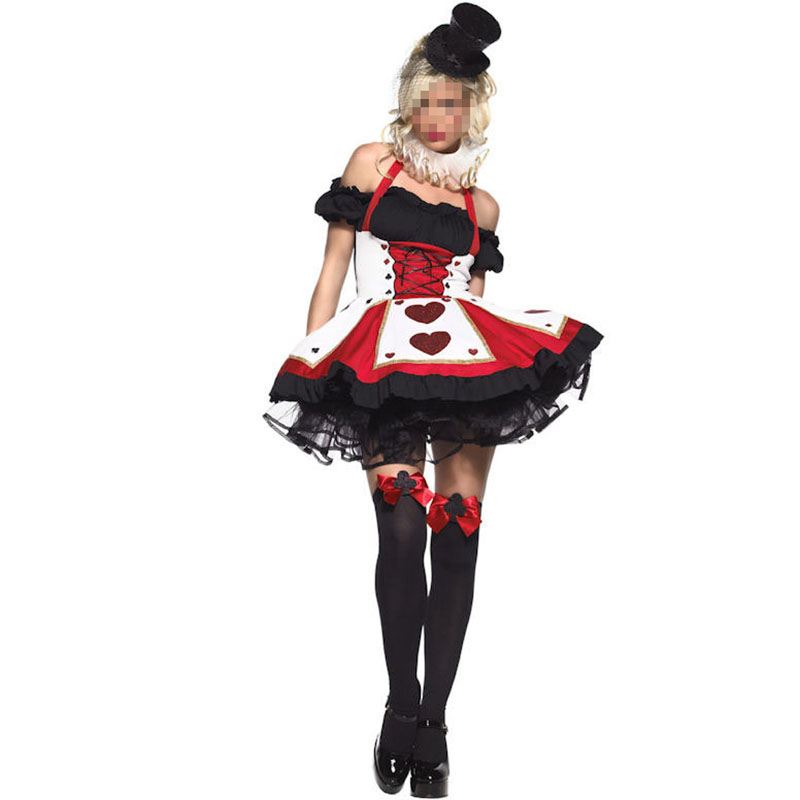 Halloween Costumes Adult Women Poker Red Queen of Hearts Costume Dress Carnival Party Queen Costumes for Women