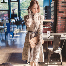 Hot Sale 2018 Newest Women Autumn Winters Cardigan Sweaters Dress Fashion Long Sleeve Knitted Dress Wool Long Dresses