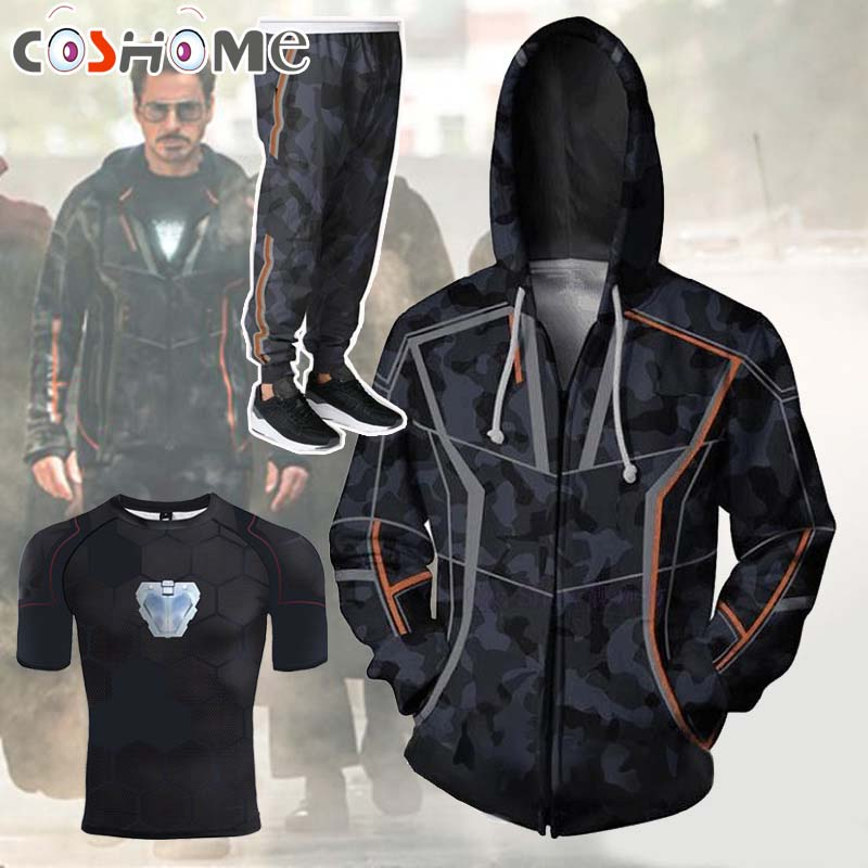 Coshome Avengers 3 Infinity War <font><b>T</b></font>-<font><b>shirt</b></font> Iron Man Cosplay Costumes <font><b>Toni</b></font> <font><b>Stark</b></font> Hoodie Pants Men <font><b>Women</b></font> Spring Jacket Coat image