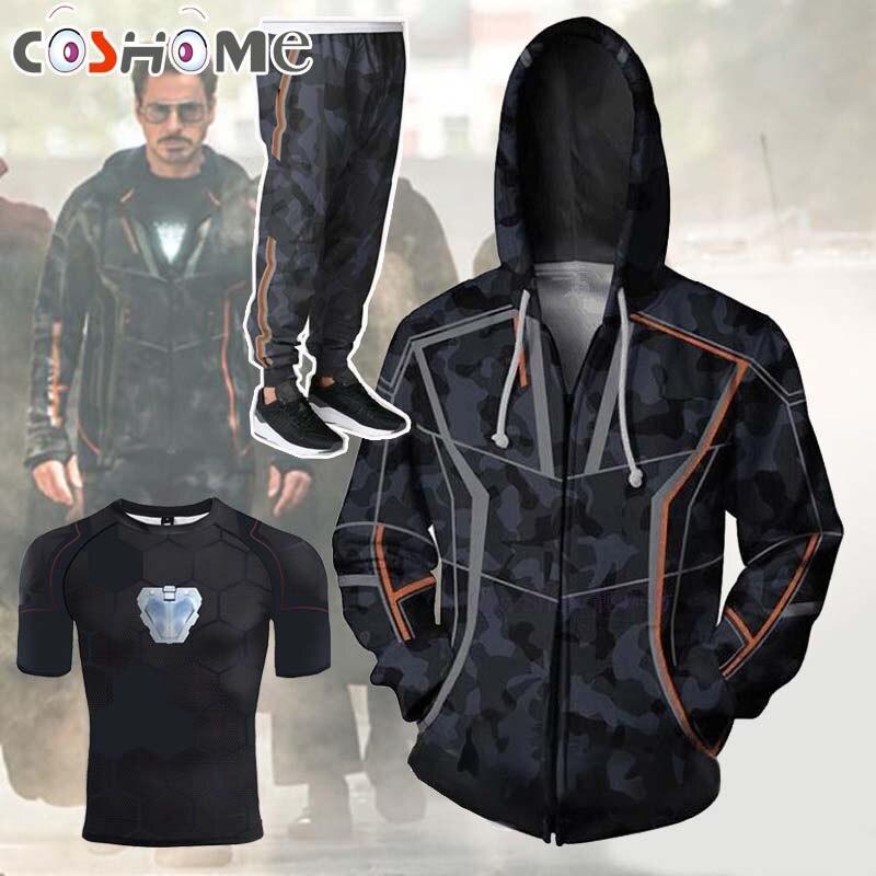 Coshome Avengers 3 Unendlichkeit Krieg T-shirt Iron Man Cosplay Kostüme Toni Stark Hoodie Hosen Männer Frauen Frühling Jacke Mantel